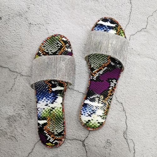 Women Summer Beach Slides Popular Shiny Crystal Women Party Slippers Slip-on