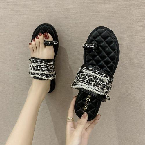 Female Designer Women Slippers Grils PU Leather Flat Casual Slides For Women