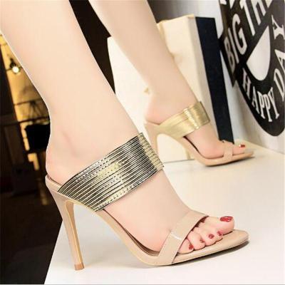 Retro Women Outdoor PU Leather High Heels Slipper Women's Party Slippers