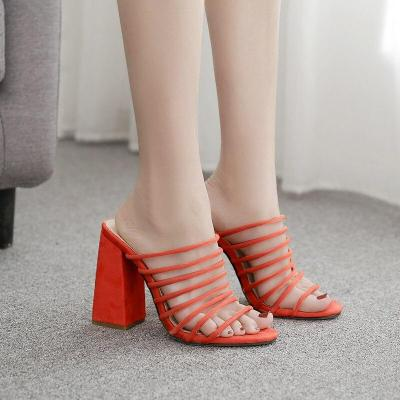Square Heel Shoes Slippers Female Peep Toe High Heel Slippers Fashion Party Sandals Orange