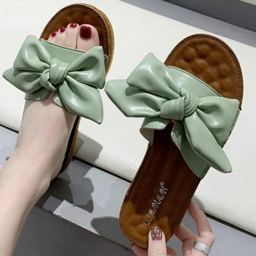 Summer Women Butterfly Knot Slippers Pu Leather Flat Heel Peep Toe Beach Outdoor Slides Retro Shoes