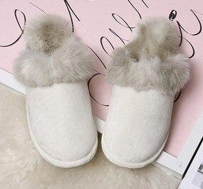 Artificial Plush Flat Bottom Home Slippers Winter Comfortable Indoor Cotton Plush Slippers Slippers