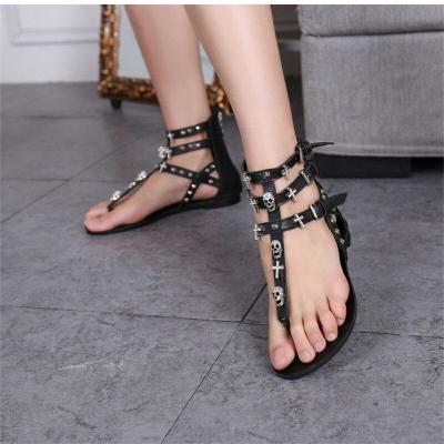 Summer Women Fashion Sandals Rivets Buckles Flats Gladiator Sandals Comfortable Flats Shoes Woman