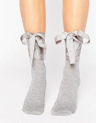 Chic Streetwear Women's Lovely Candy Color Bow Socks Casual Lolita Ballet Lace Up Short Socks Cute Ladies Bow Knot Sox