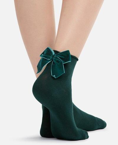 Top Quality Women's Candy Color Velour Bow Socks Female Hit Colors Short Socks Ladies Velvet Bow Knot Sox Sock