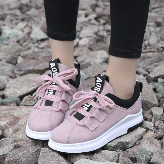 Women Fashion Sneakers Female Leather Casual Shoes Pink Woman Casual Shoes