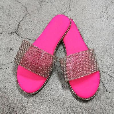 Women Summer Beach Slides Popular Shiny Crystal Women Party Slippers Slip-on