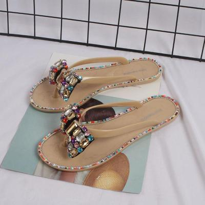 Summer Woman Beach Flip Flops Jelly Shoes Bling Flowers Slippers