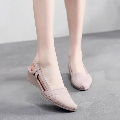 Women Sandals Women Pumps Pointed Toe Jelly Shoes Soft Sole Low Heel Sandals