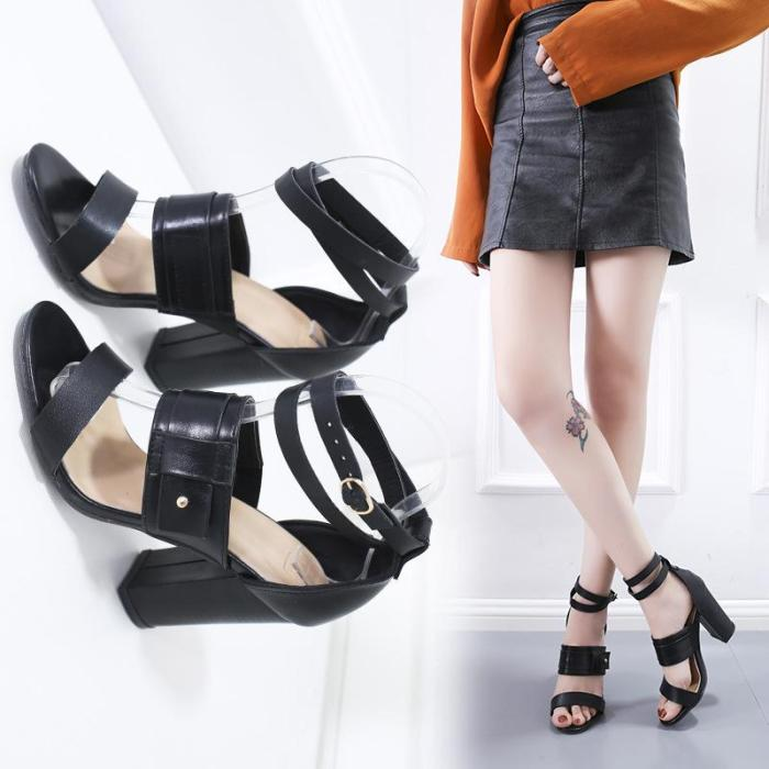 Summer Women Pumps Platform Sandals Flock High Chunky Heel Peep Toe Ankle Buckle Strap Ladies Party Dress Shoes Zapatos De Mujer