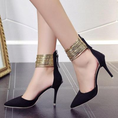 Spring Autumn Women Pointed Toe Curve Super High Party Fashion Metal Strap Shoes Ladies Heels