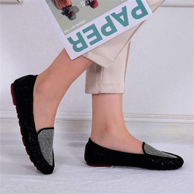 Women Foldable Flat Shoes Fashion Rhinestone Slip-on Flats
