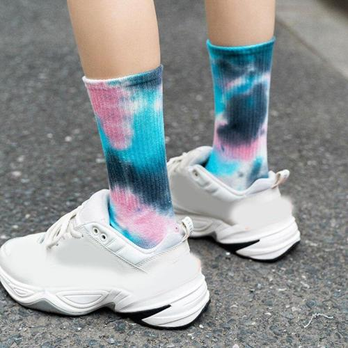 Personality Basketball Tie Dye Women Socks Fashion Girls Sock Skate Socks Sweat Breathable Cotton Calf Length Long Sock