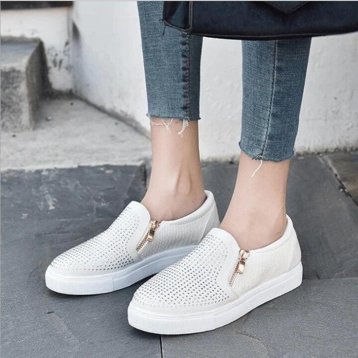 Loafers Slip  Flats Stone Pattern Espadrilles Crystal Shinning Women Shoes Zipper Summer Walking Shoe
