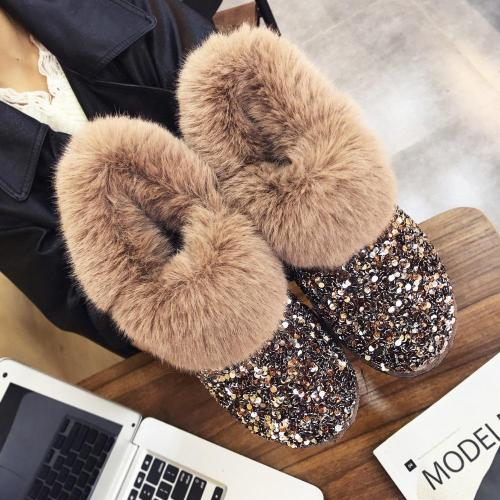 Women Winter Warm Boots Outsole Snow Boots Shiny Fashion Style Ankle Boots Plus