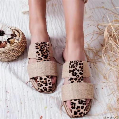Leopard Print Flat Sandals Summer Mix Colors Home Outside Girls Slippers Soft Casual Female Beach Slides