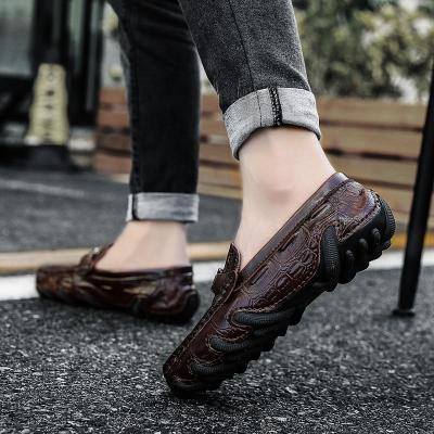 Genuine Leather Loafers Mens Luxury Slip on Casual Driving Shoes with Fur Warm Shoes Men Boat Shoes