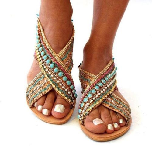 Summer Women Sandals Beading Flat Sandals Foreign Ethnic Style Bohemian Beach Shoes Female Sandalias Shoes Plus Size