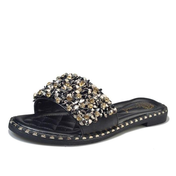 Women Casual Summer Flat Slippers Flip Flops Ring Toe Sandals Beach Female Crystal Outside