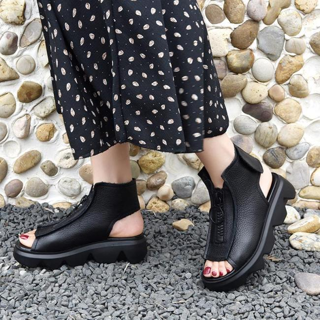 Women Summer Fashion Wedge Zipper Peep Toe Sandals Woman Platform Casual Shoes Soft Leather Outdoor