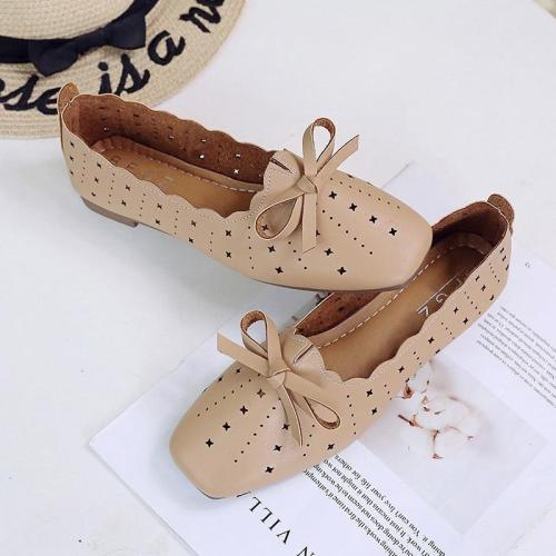 New Bow Knot Women Shoes Woman Flats Female Casual Shoes Ballet Flats Slip on Hollow Flats Soft Sole Square Toe Shoes