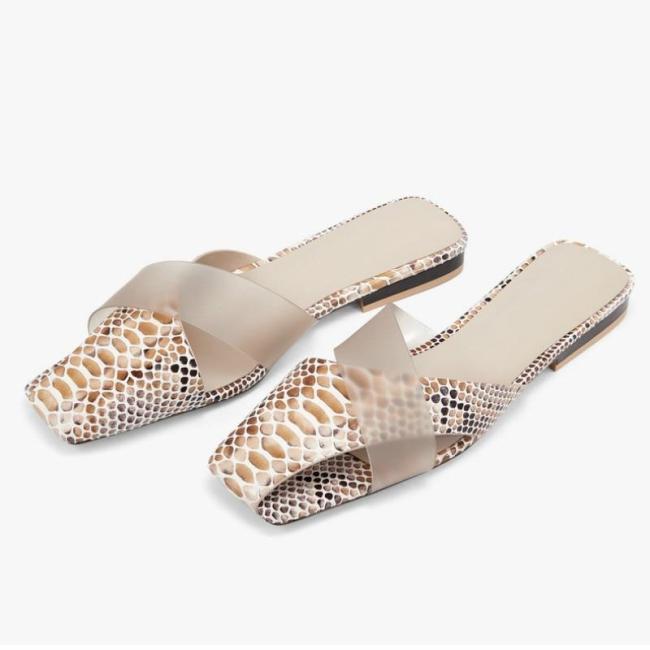 Summer Women's Slides Square Head Flat-bottom Female Shallow Female Slippers Ladies Shoes
