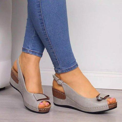 Casual Sandals Women Wedges Sandals Pumps Ankle Buckle Open Toe Summer Women Shoes Fashion Wedges Shoes