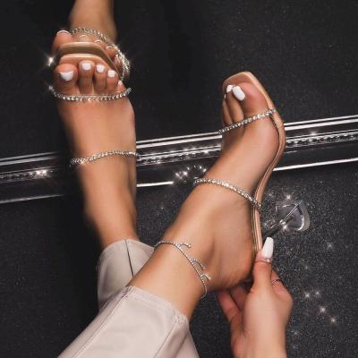 Rhinestone Flip Flop Stiletto Heel Slip-On Casual Plain Slippers