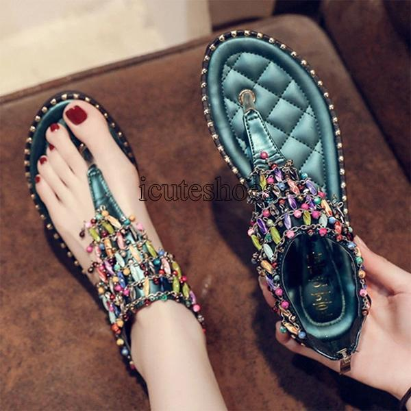 Leather Women's Slippers Sandal Flat Casual Slides Summer Outdoor Beach Female