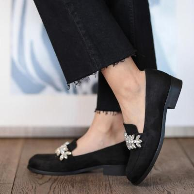Navy Blue Suede Buckle Oxford Shoes New Fashion High Top Casual Winter Spring Shoes for Women
