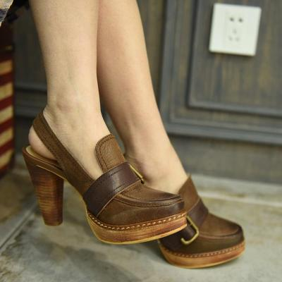 Vintage Thick Heel Genuine Leather 10.5 Cm High Heel Closed Toe Sandals Strap Buckle Women Sandals Shoes