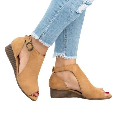 Women Summer Suede Wedge Ladies Open Toe Sewing Ankle Buckle Strap Shoes Woman Casual Female Sandal