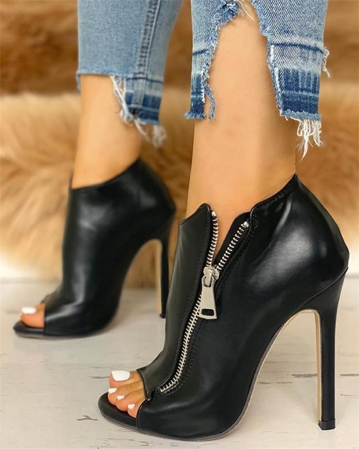 High Heel Women Sandals Shoes Solid Zipper Peep Toe Zip PU Leather Punps Summer Wedding Party Sexy Femme Sandals