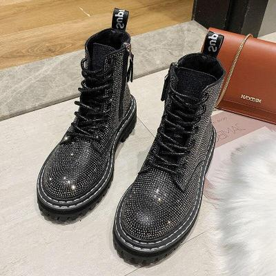 Punk Style Women Bling Shoes New Arrivals Lace Up Platform Ankle Boots Rhinestone Flat Female Shoes