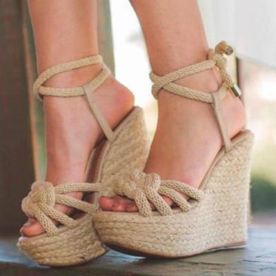 Women Rope Sandals Cotton Fabric Wedges Heels Ankle Strap Hemp Sole Summer Fashion Retro Beach Ladies Shoes Zapatos De Mujer