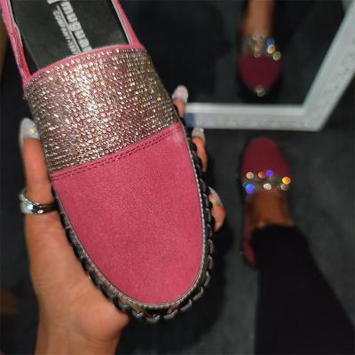 Women Fashion Rhinestone Color Block Slip-on Loafers