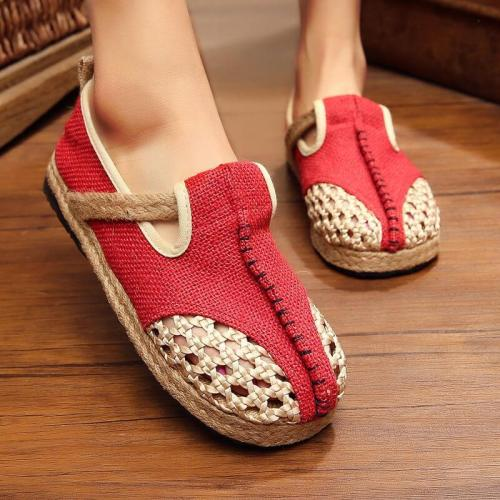 Women National Linen Hit Color Slip On Flat Heel Espadrille Loafers