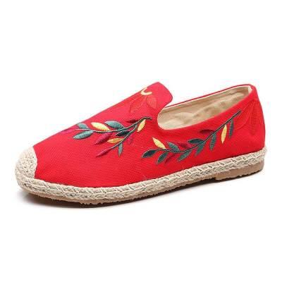 Women Linen Flower Slip On Flat Heel Espadrille Loafers