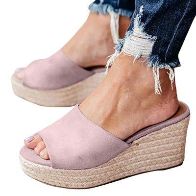 Hemp Rope High heel Shoes Summer Casual Slip on Platform Ladies Sandals Dress Party Peep Toe Female Sandals