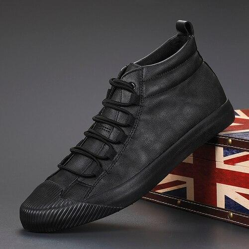 Spring Autumn New Men Version PU Leather Vulcanized Shoes Fashion Lace High Top Wearable Casual Shoes