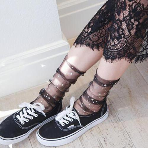 Star Moon Fashion Long Socks Women Transparent Tulle Socks Girls Black White Lace Funny Socks Dress Sock Streetwear