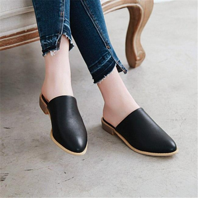 Fashion Pu Leather Women's Summer Slippers Elegant Comfortable Women's Office Slippers Flat Heel Slippers Size