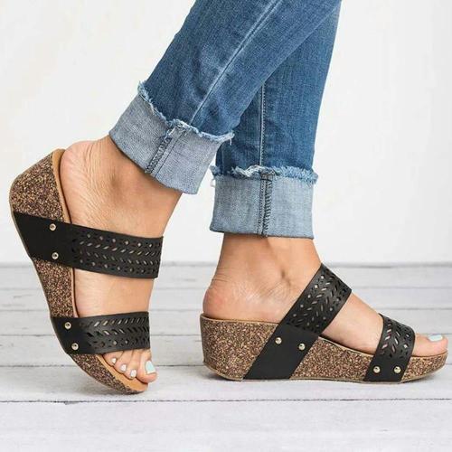 Flip Flop Slip-On Wedge Heel Platform Cowhells Slippers