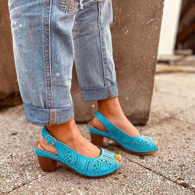 Women Summer Pumps High Heels Plus Size Shoes Woman Peep Toe PU Leather Buckle Strap Sandals Female