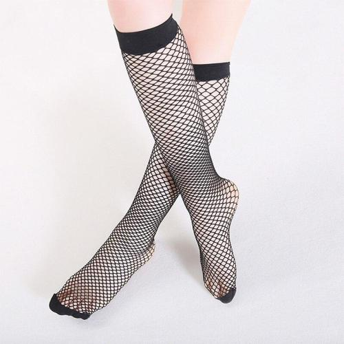 Chic Streetwear Women's Black Breathable  Knee Length Mid Calf Fishnet Socks Sexy Hollow Out Nets Socks Ladies Mesh Sox