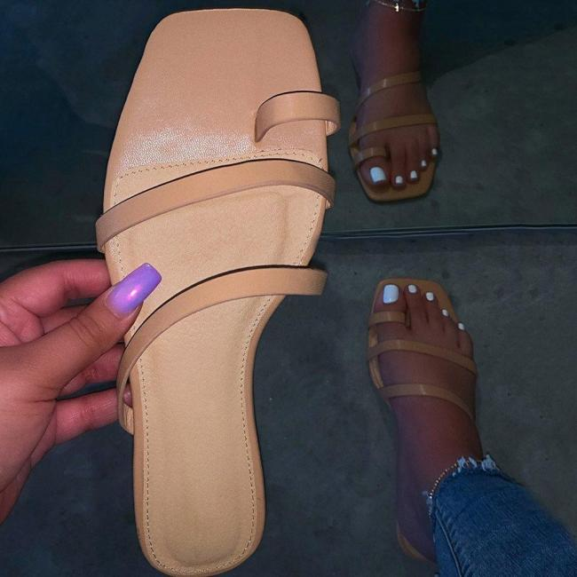 Toe Ring Slip-On Thread Flat With Plain Casual Slippers