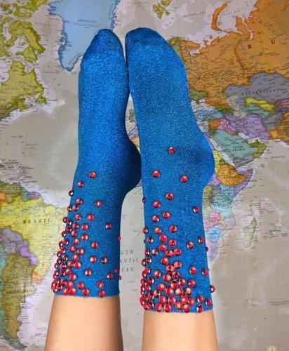 Top Quality Women Glitter Red Rhinestones Socks Gold Sliver Shiny Lake Blue Ankle Socks Lady Bright Retro Sox Sock Female