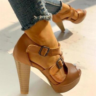 High Heels Women Summer Peep Toe Buckle Strap Sandals Ladies Platform Pumps Shoes Sexy Party Club Shoes Thick Heels Shoes