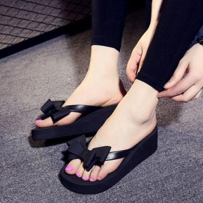 Fashion Wedge Women Sandals High Heel Holiday Bowknot Outdoor Summer Beach Slippers