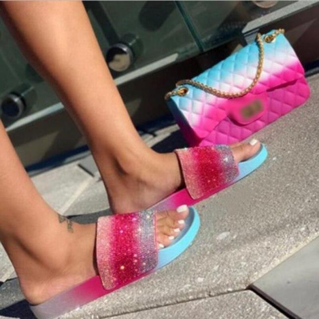 New Women's Shoes Open Toe Rhinestone Slippers Flat Sandals Outdoor Handmade Causal Comfortable